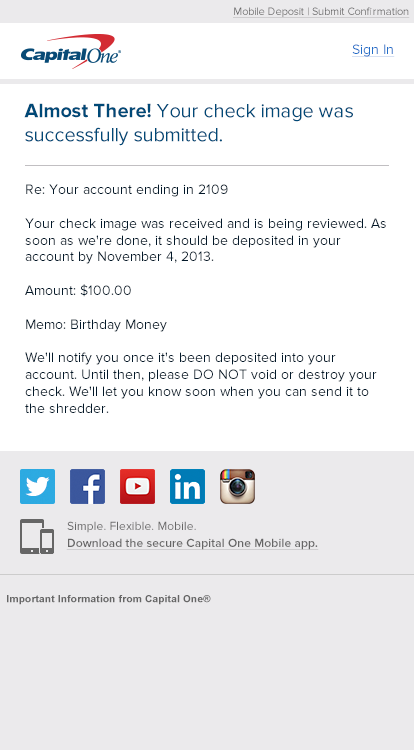 Capital One Mobile Deposit