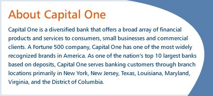 Capital One is a diversified bank that offers a broad array of financial products and services to consumers, small businesses, and commercial clients.