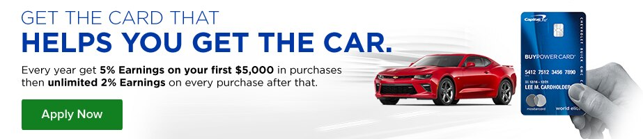 Apply now. Get the card that helps you get the car. Every year get 5% Earnings on your first $5,000 in purchases then unlimited 2% Earnings on every purchase after that.